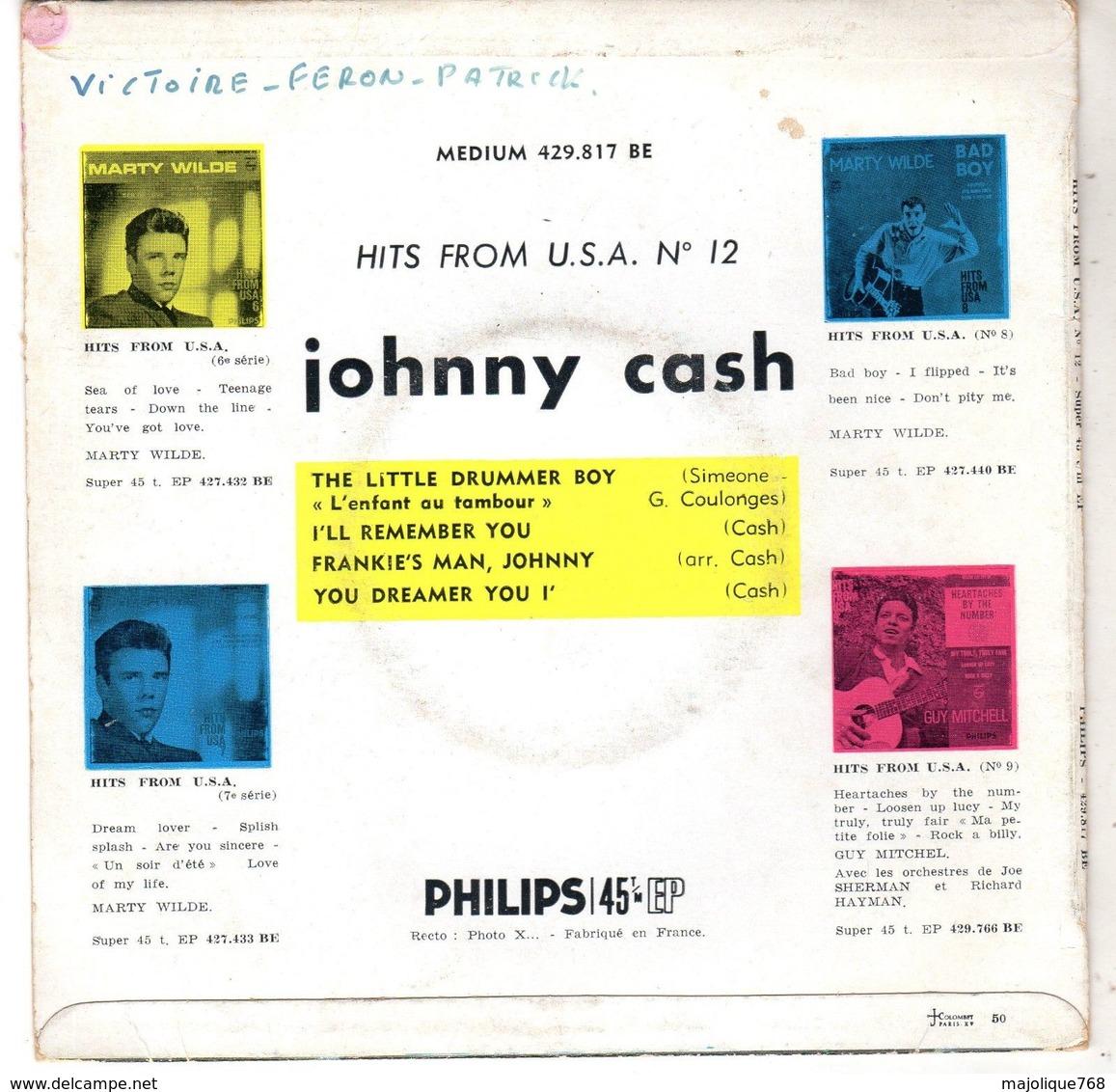 Disque De Johnny Cash - The Little Drummer Boy - Philips 429817 BE - 1959 - Country & Folk