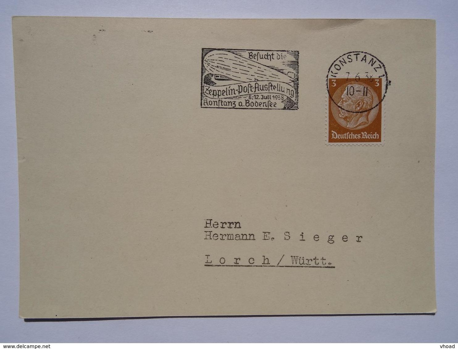 1938 DR Postcard Zeppelin-Post-Ausstellung - Briefe U. Dokumente