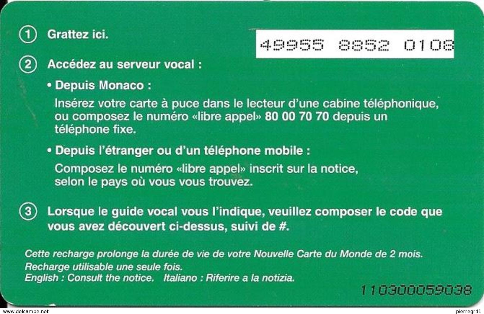 CARTE-PUBLIC-MONACO-CARTE RECHARCHE-7.5€-MF53d-VERTE 2-V°PN°Lasers-5-4-4-TBE - Monaco
