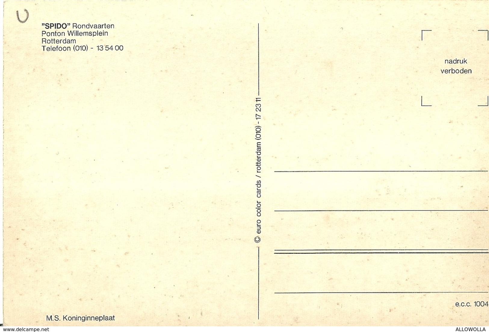 "3436 ""SPIDO-RONDVAARTEN-PONTON WILLEMSPLEIN-ROTTERDAM-M.S. KONINGINNEPLAAT""ANIMATA- CART. ILL.POST. ORIG. NON SPED. - Barche"