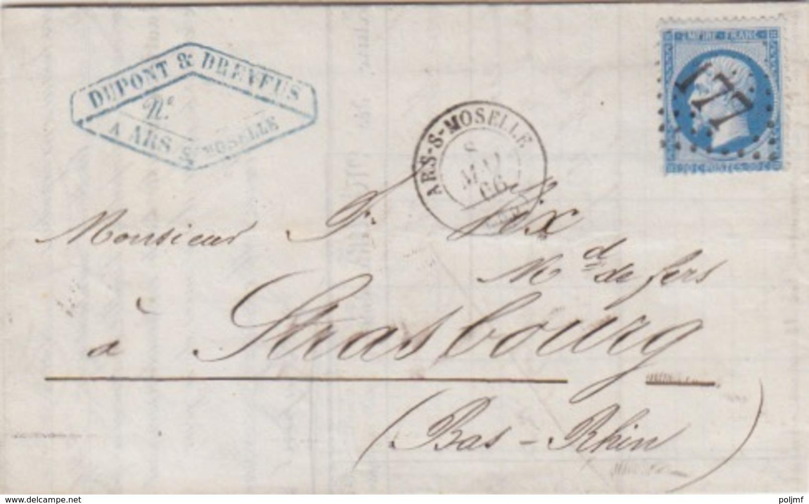 Lettre Obl. T15 Ars Sur Moselle + GC 177 Le 8 Mai 66 Sur N° 22 (20c Bleu) Pour Strasbourg - Postmark Collection (Covers)