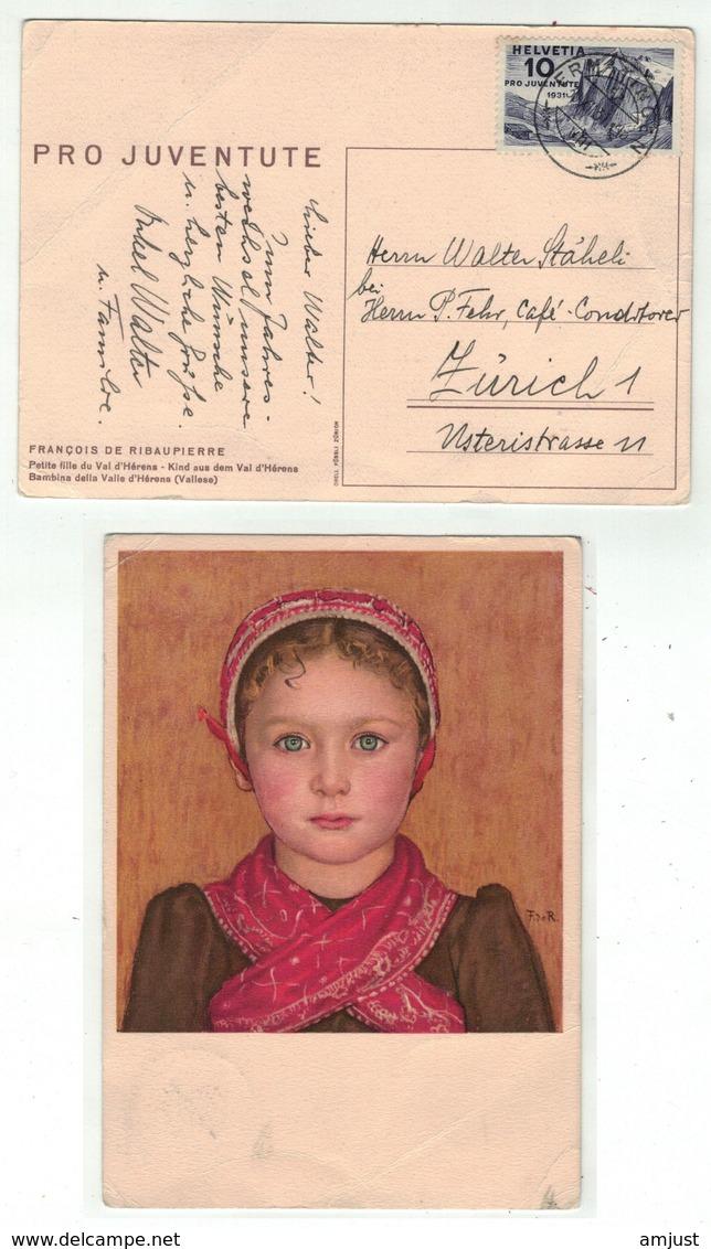 Suisse //Schweiz//Svizzera// Switzerland // Pro-Juventute // Carte Pro-Juventute 1931 No.158 Oblitérée En 1931 - Lettres & Documents