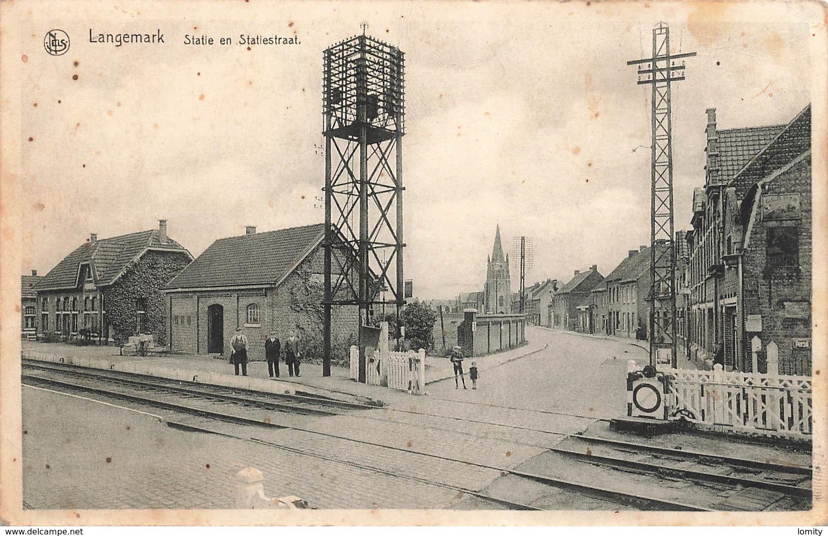 Belgique Langemark Statie En Statiestraat Gare Passage à Niveau - Langemark-Poelkapelle