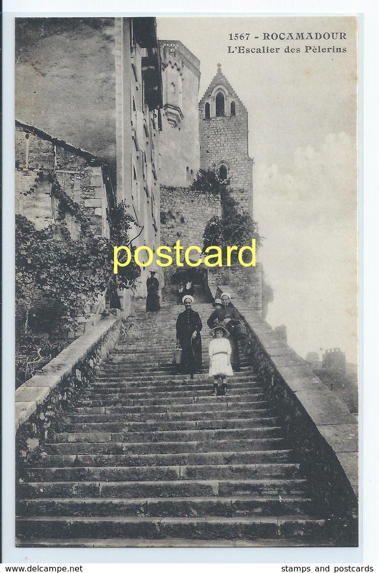 ROCAMADOUR - L'ESCALIER DES PELERINS. OLD POSTCARD  C.1910 #D8. - Rocamadour