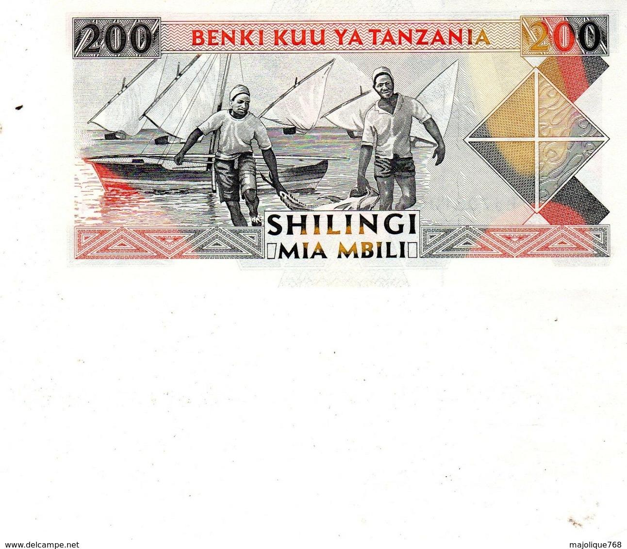 Billet De Banque De La Tanzanie De 200 Shilingi, 1993 Non Daté Neuf - - Tanzania