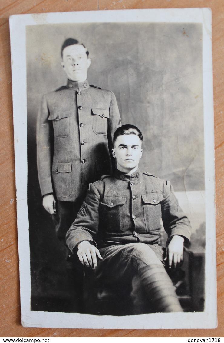 Carte Photo Militaire Soldats Américains Soldiers Militaria US Army WWI Uniforme Régiment AEF Guerre War - Guerra 1914-18