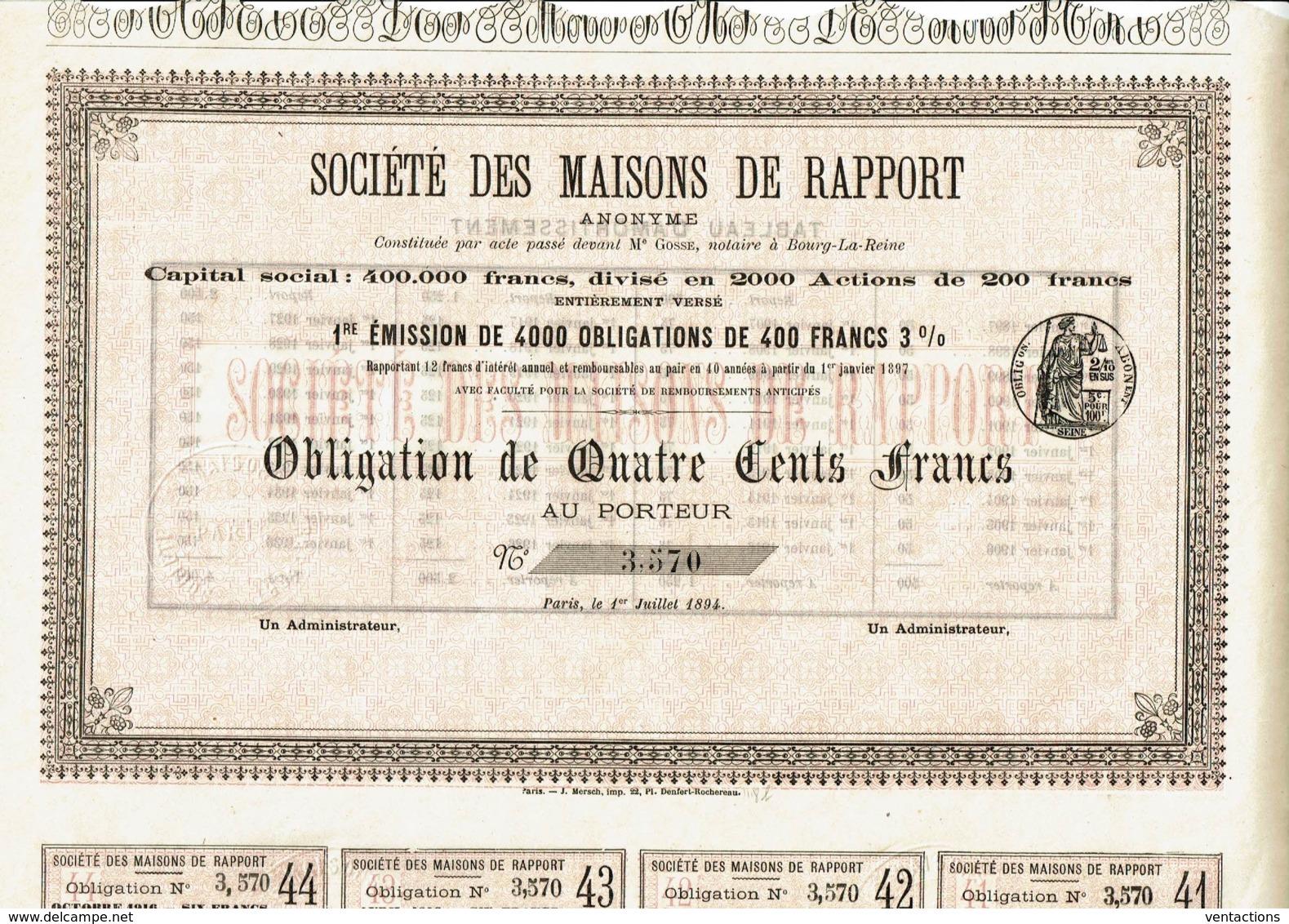 92-MAISONS DE RAPPORT. BOURG LA REINE. 1894. Obligation - Aandelen