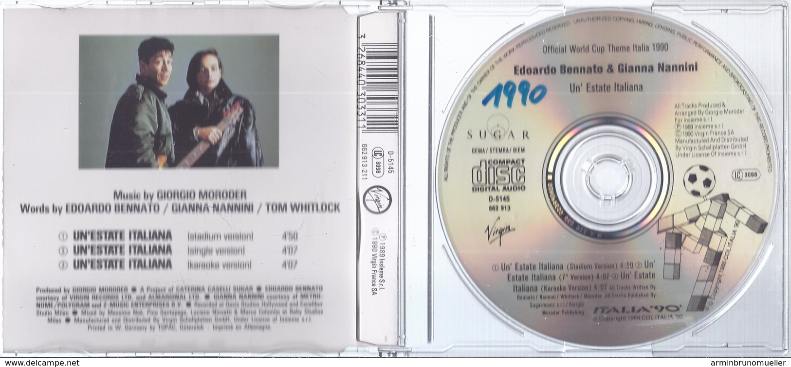 CD- 33 - Official Song Of FIfa World Cup Italy 1990 - Un`Estate Italiana  - Siehe Scan - Sonstige