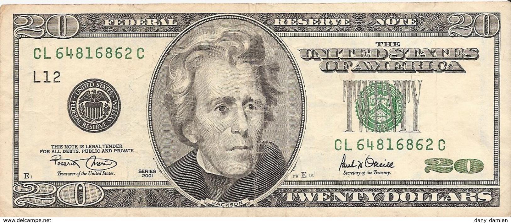 Etats-Unis (United States Of America) - Billet De 20 Dollars - Serie 2001 - N° LC12 - Estados Unidos