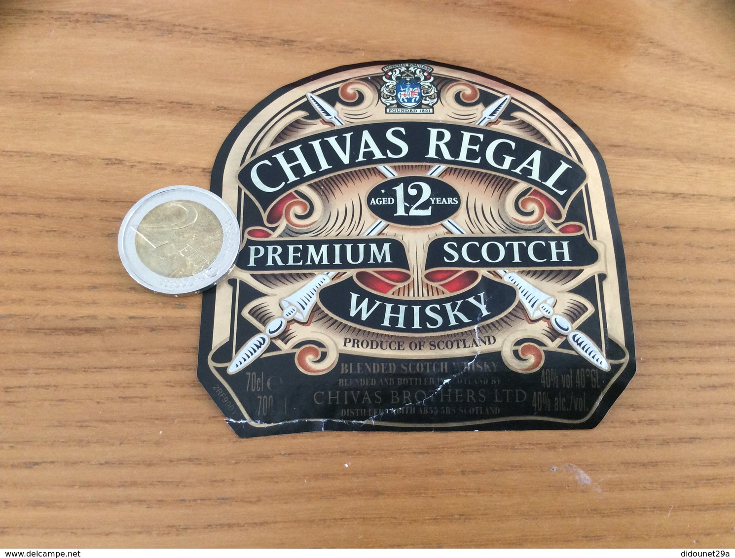 Etiquette «SCOTCH WHISKY - CHIVAS REGAL - Aged 12 Years» - Whisky