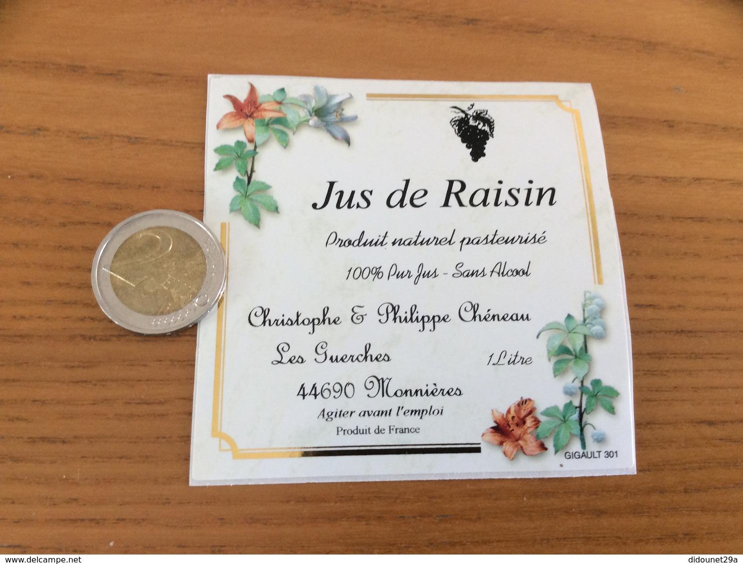 Etiquette Autocollant «Jus De Raisin - Christophe & Philippe Chéneau - Monnières (44) » - Autres