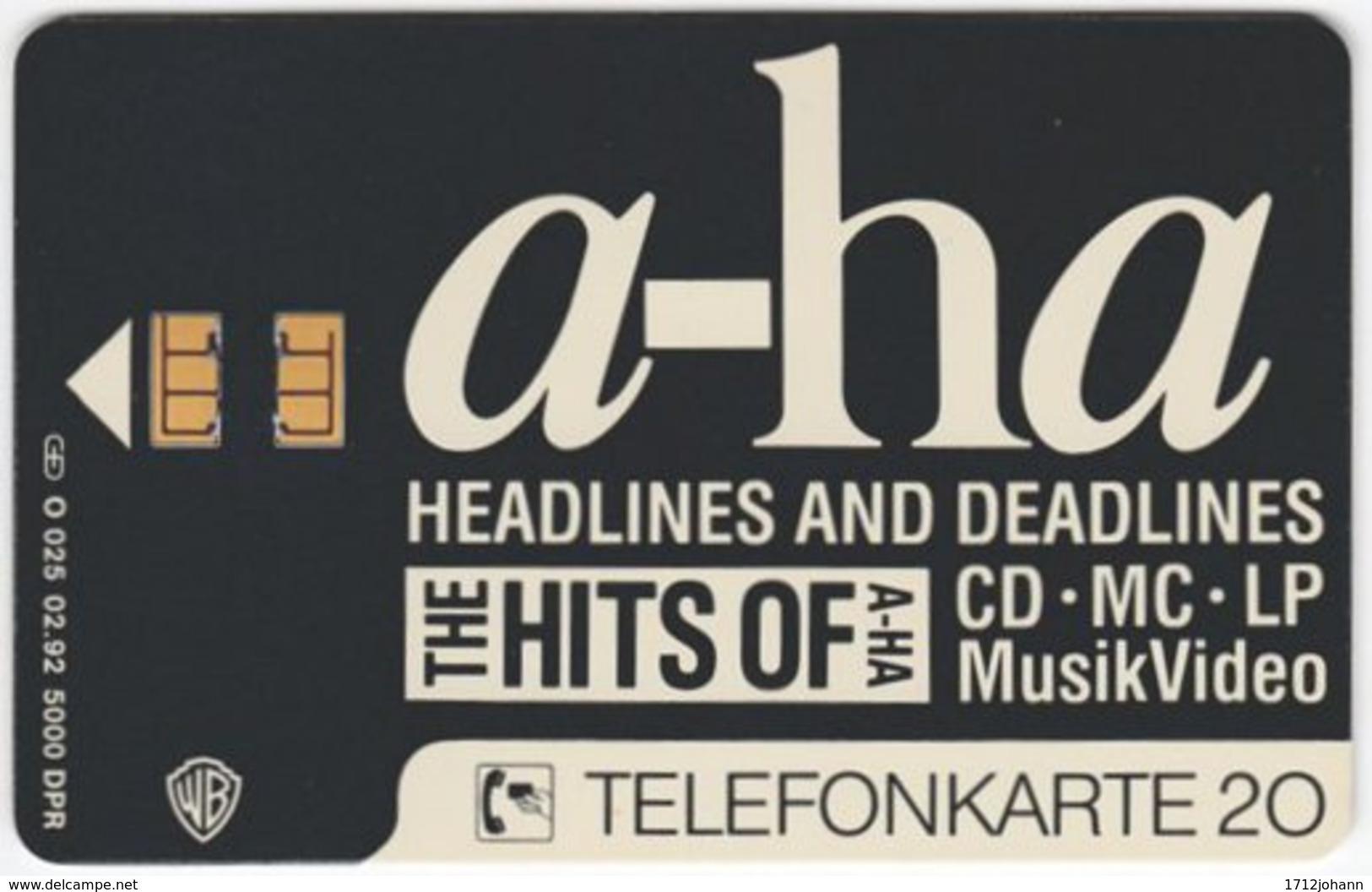 GERMANY O-Serie A-958 - 025 02.92 - Musicians, A-Ha - MINT - O-Series: Kundenserie Vom Sammlerservice Ausgeschlossen