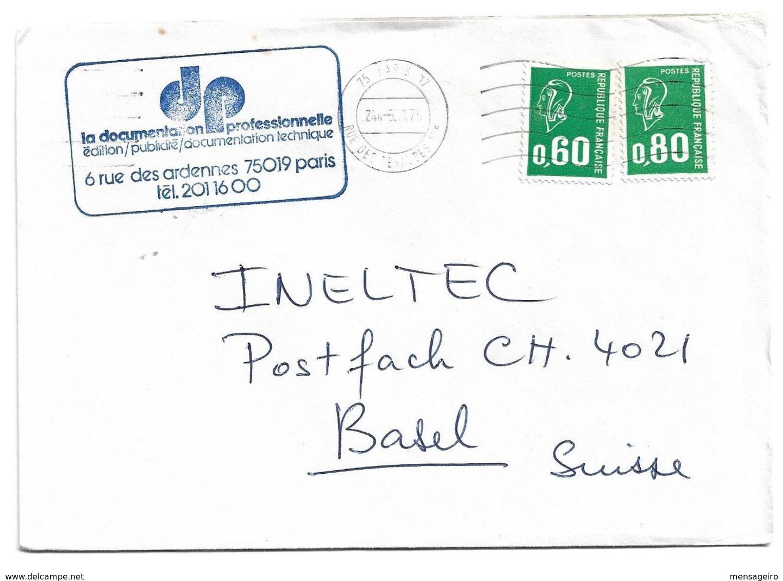 (C17) - Y&T N°1835+ 1893 - LETTRE PARIS => SUISSE 1976 TARIF 1-20 GRS DU 02/08/1976 - Francia