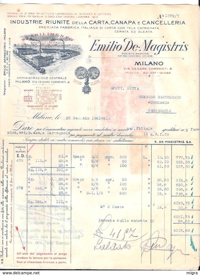 MILANO PER CARMAGNOLA - EMILIO DE MAGISTRIS - CARTA CANAPA E CANCELLERIA - 1941 - Italia