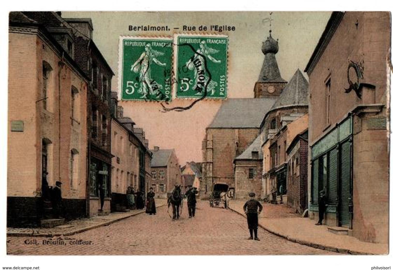 BERLAIMONT RUE DE L EGLISE CARTE COULEUR TRES ANIMEE - Berlaimont