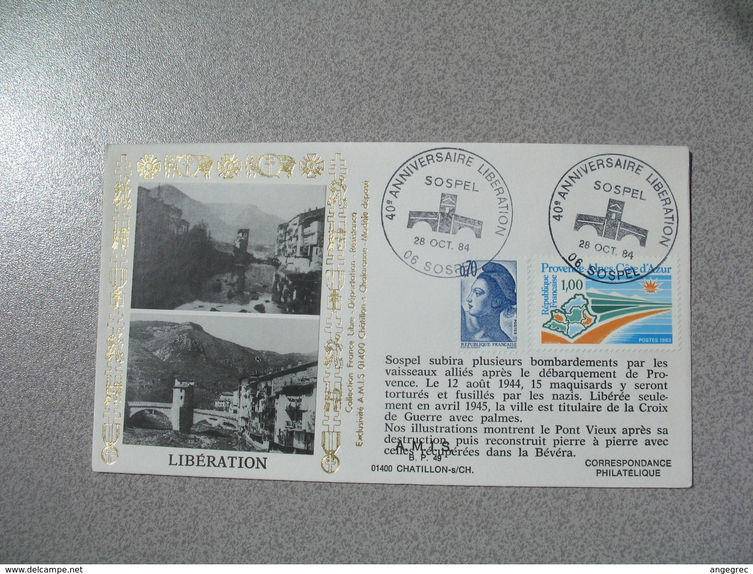 Enveloppe 1984 40 è Anniversaire - Libération Sospel  cachet Sospel - Storia Postale