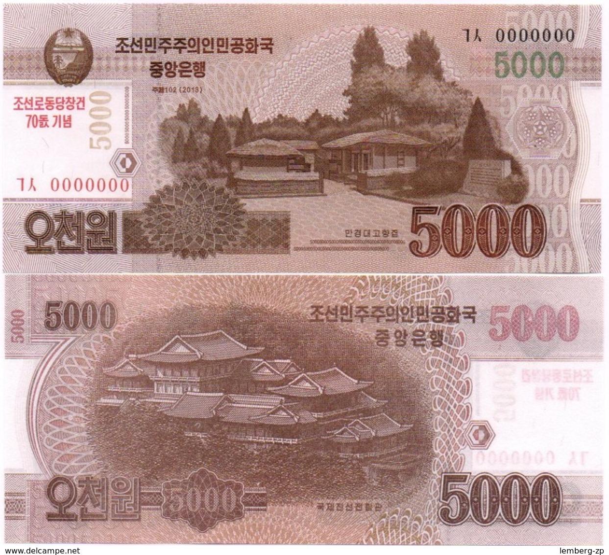Korea North - 5 Pcs X 5000 Won 2013 / 2015 UNC 70 Years N. Korea Pick CS19 Serie 0000000 Lemberg-Zp - Corea Del Nord