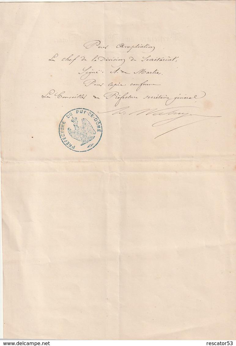 Très Rare Décret De Napoléon à La Préfecture Du Puy De Dôme Nomination Sous-préfet 12 Avril 1862 - Decrees & Laws