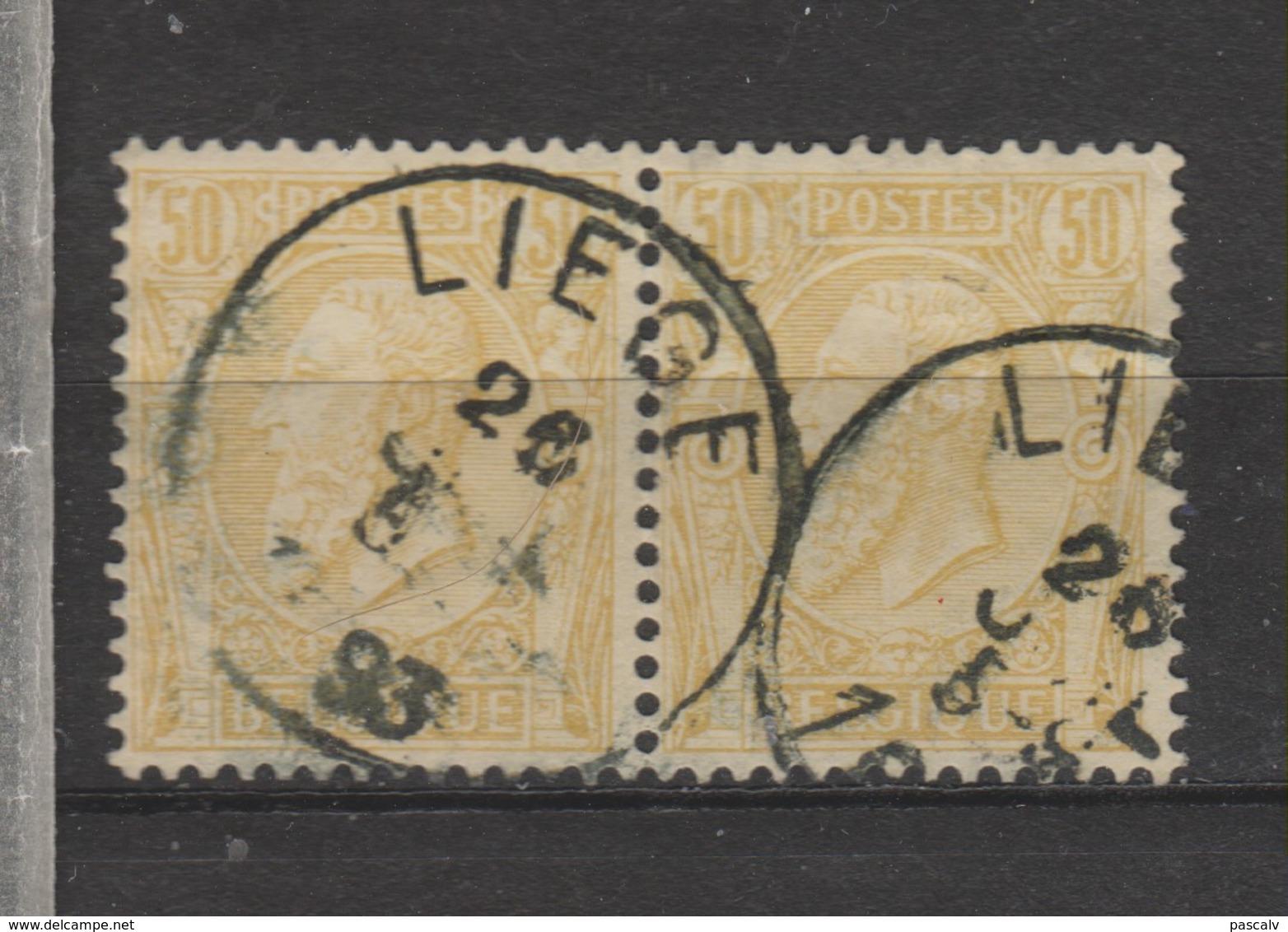 COB 50 En Paire Oblitération Centrale LIEGE - 1884-1891 Léopold II