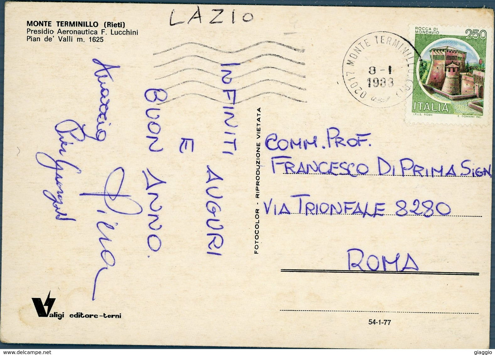 °°° Cartolina N.21 Monte Terminillo Presidio Aeronautica F. Lucchini Viaggiata °°° - Rieti