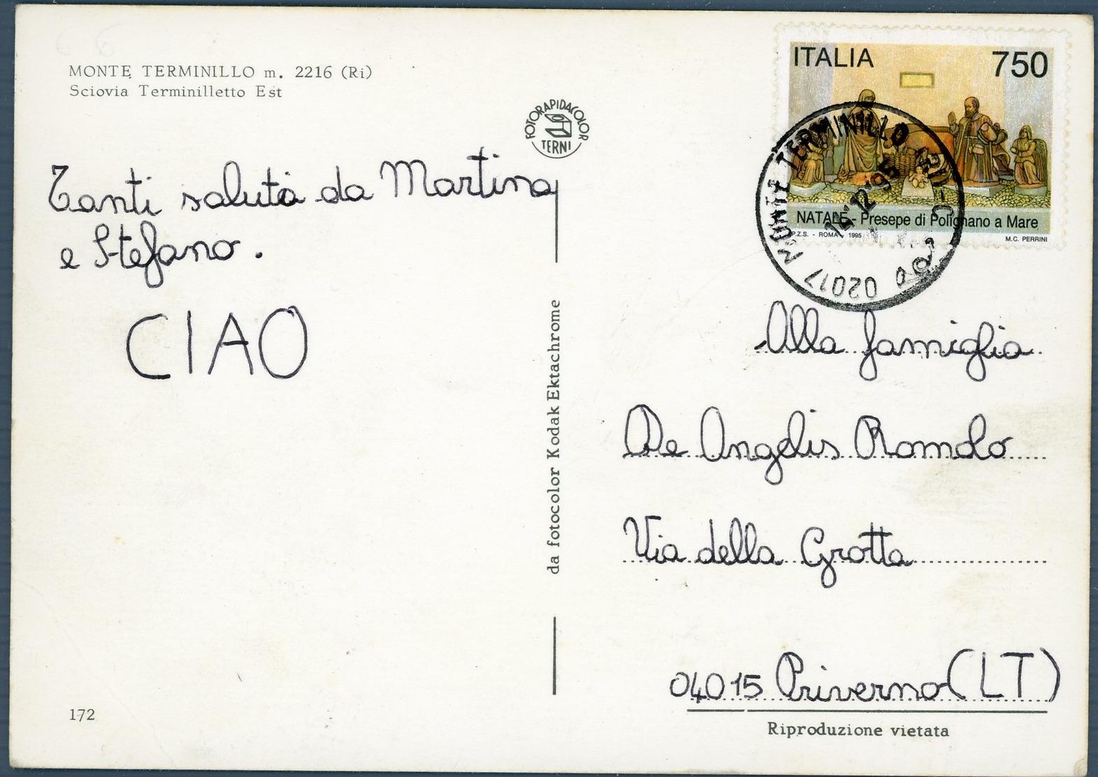 °°° Cartolina N.23 Monte Terminillo Sciovia Terminilletto Viaggiata °°° - Rieti