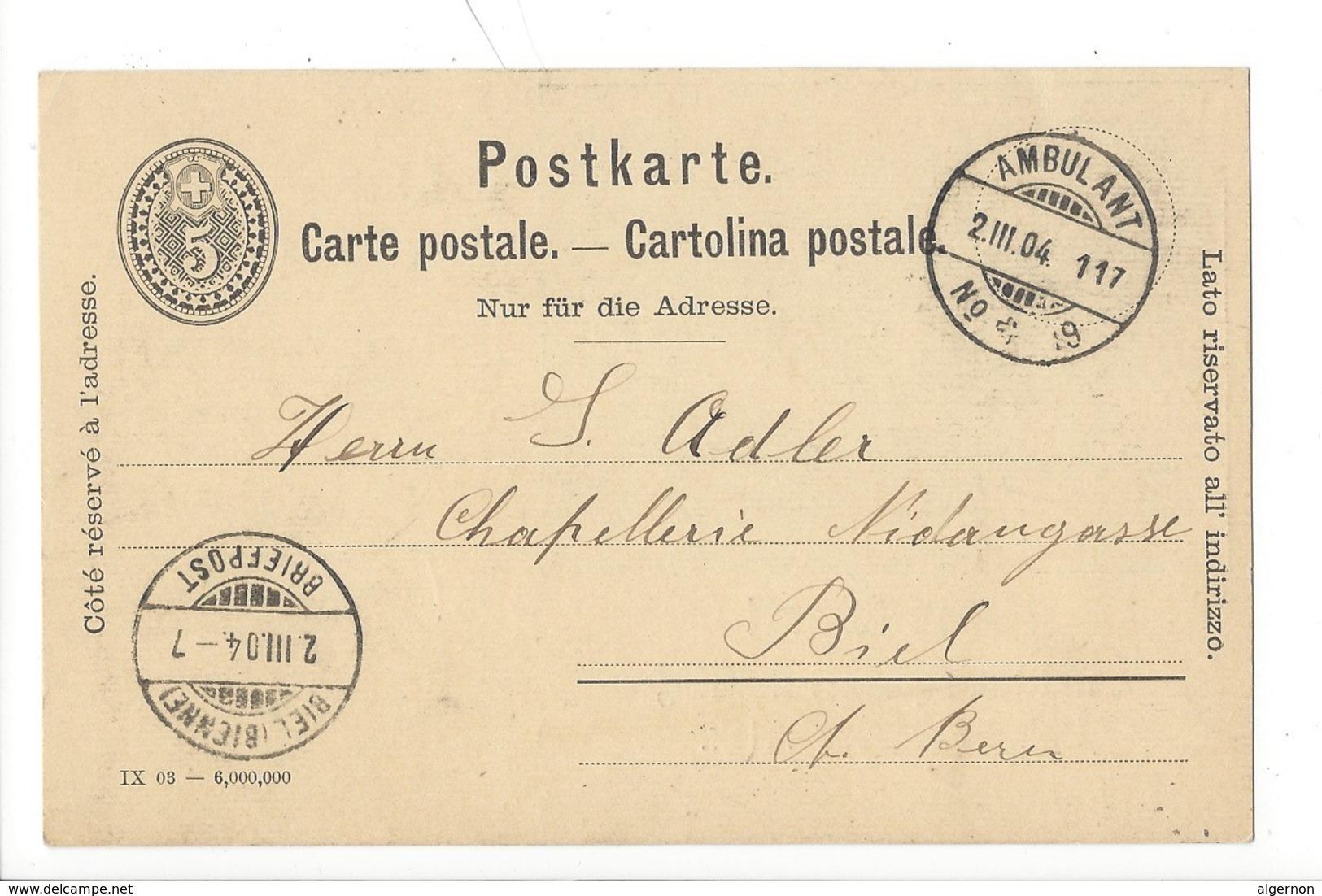 22030 - Entier Postal Privé Hans Marti Uhren Bijouterie-Handlung Bahnhofstrasse Frick Ambulant  Biel 02.03.1904 - Entiers Postaux