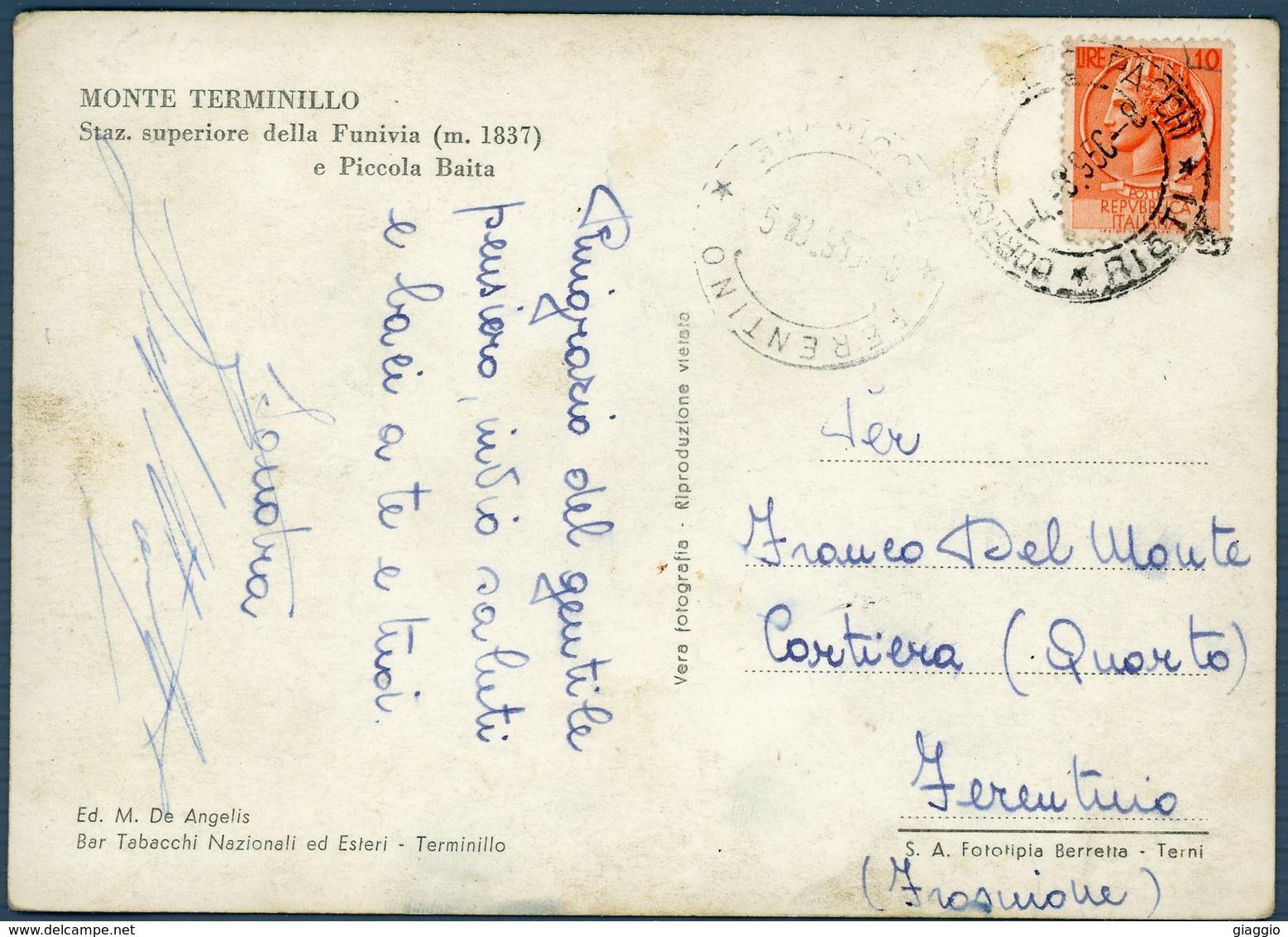 °°° Cartolina N. 29 Monte Terminillo Stazione Superiore Della Funivia E Piccola Baita Viaggiata °°° - Rieti
