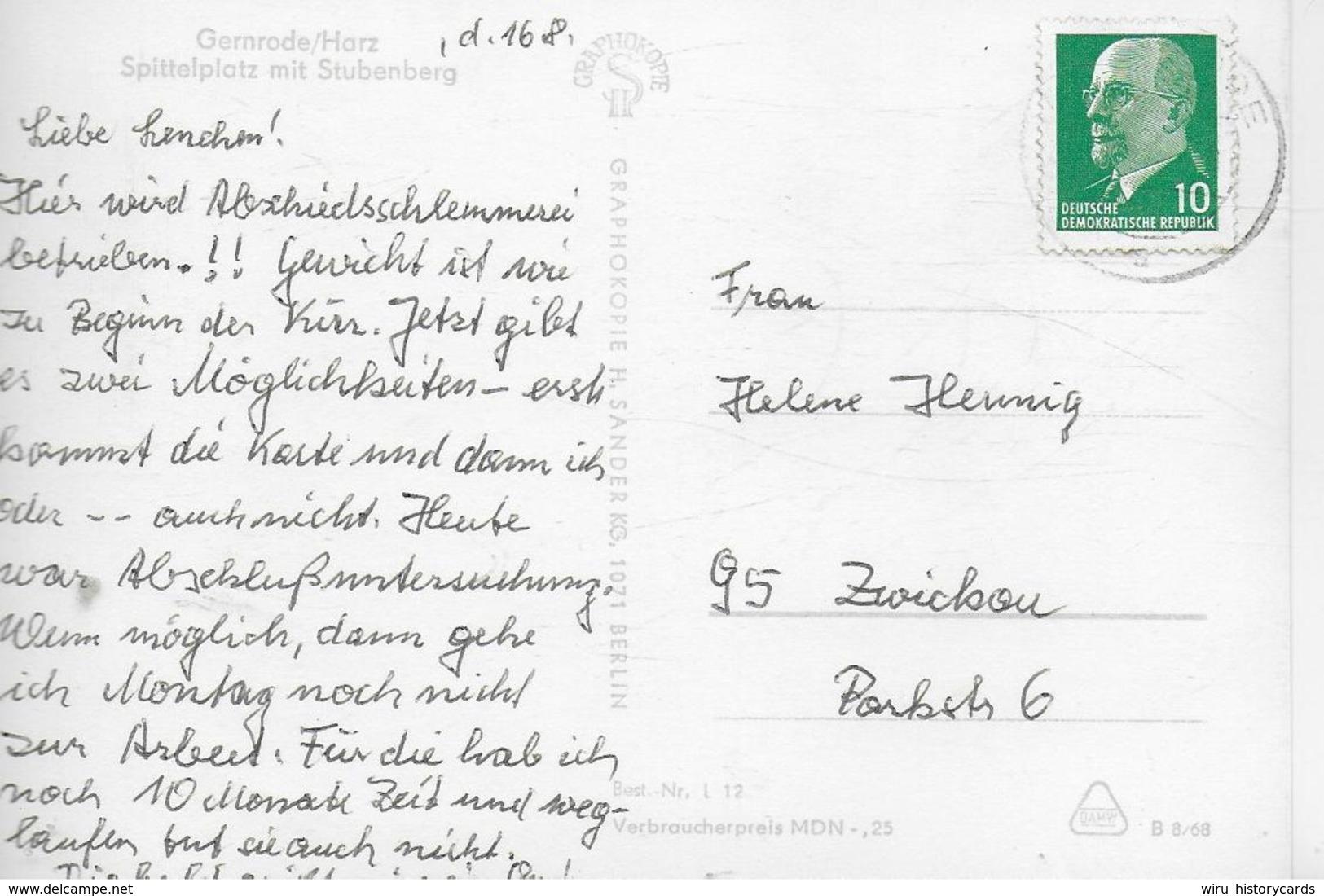 AK 0231  Gernrode - Spittelplatz Mit Stubenberg / Ostalgie , DDR Um 1968 - Quedlinburg