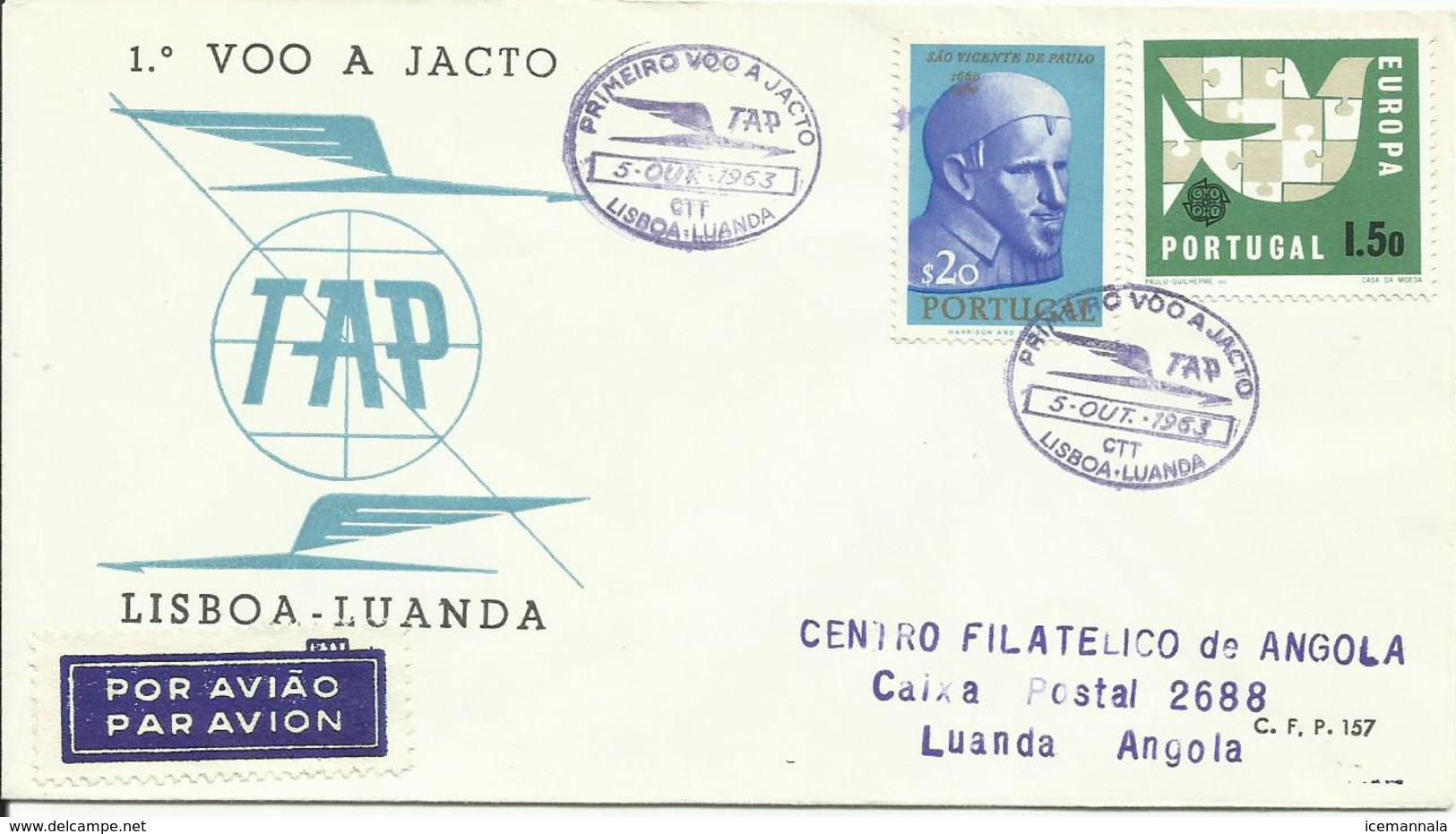 PORTUGAL, SOBRE PRIMER VUELO LISBOA/LUANDA - 1910-... República