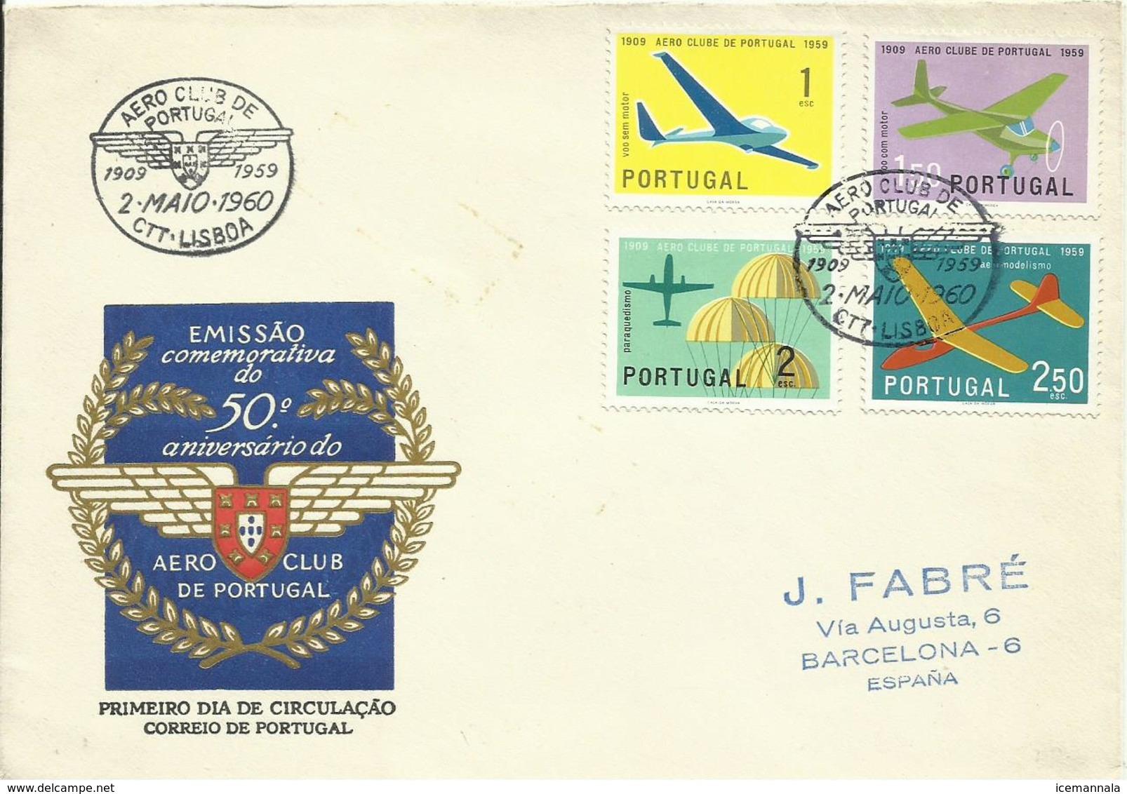 PORTUGAL, SOBRE PRIMER DIA DE CIRCULACION - 1910-... República