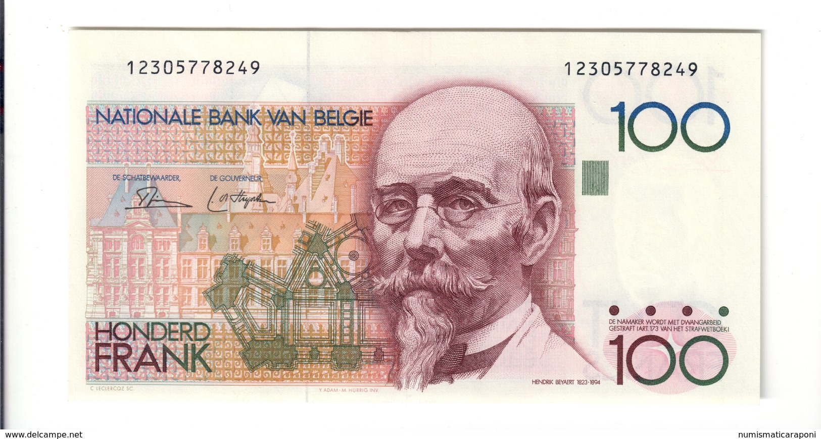Belgio Belgium  100 Francs 1978-1981 Pick#140a Fds Lotto 2494 - Autres