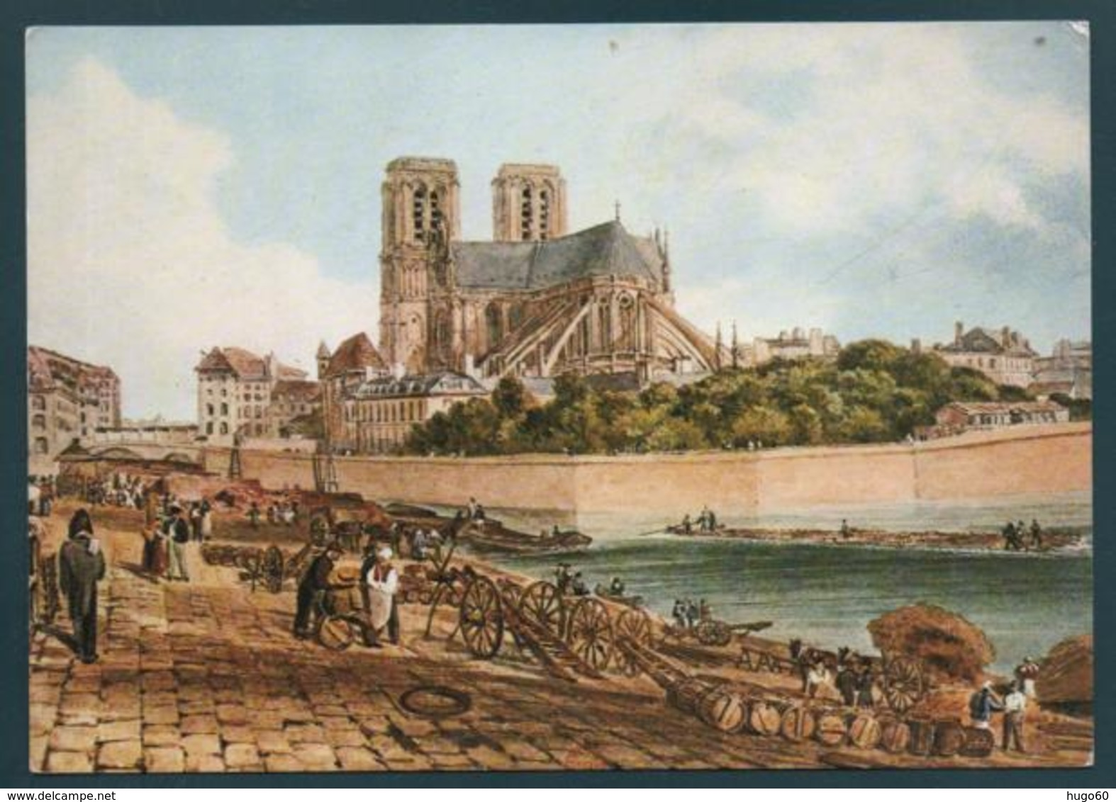 Pointe De L'Ile Notre-Dame - Aquarelle Par Hamilton,1827 - Peintures & Tableaux