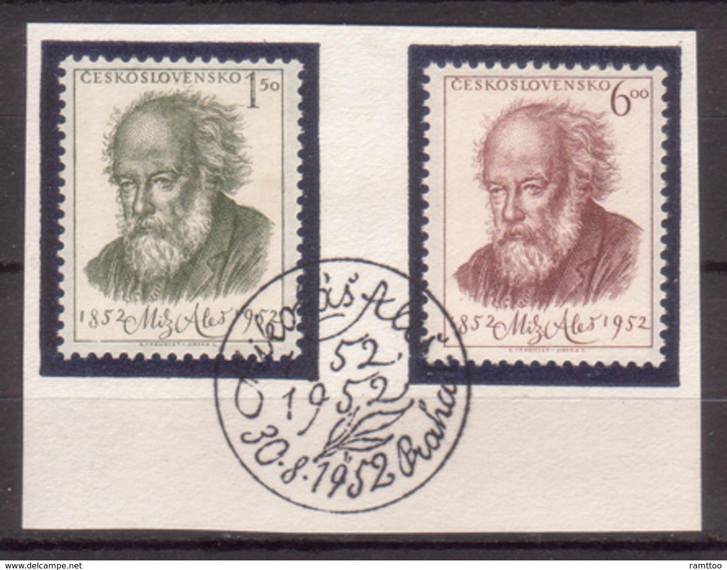 Tschechoslowakei / CSSR , 1952 , Mi.Nr. 755 , 756 O / Used  Auf Papier Ersttagsstempel - Czechoslovakia