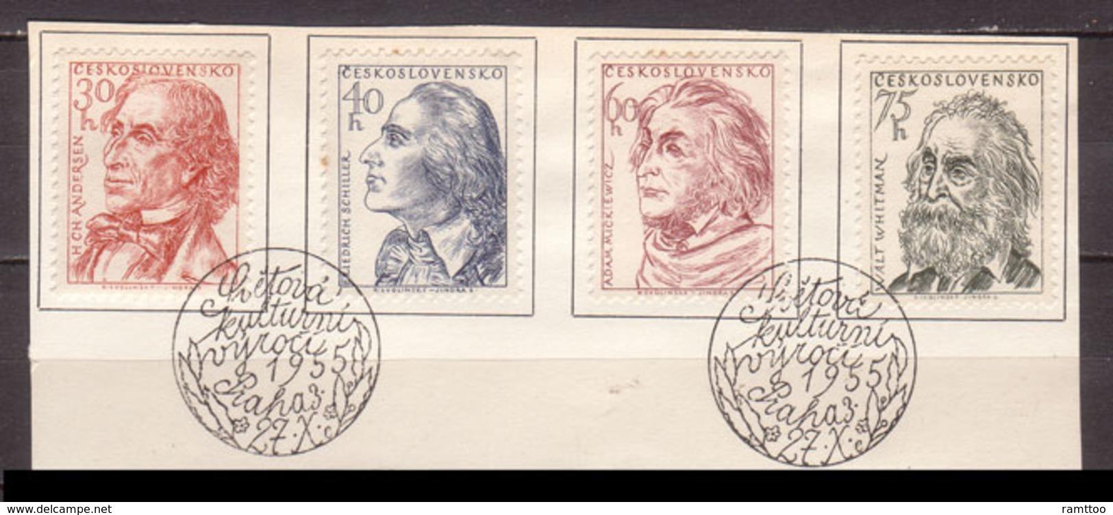 Tschechoslowakei / CSSR , 1955 , Mi.Nr. 941 - 944 O / Used  Auf Papier Ersttagsstempel - Czechoslovakia