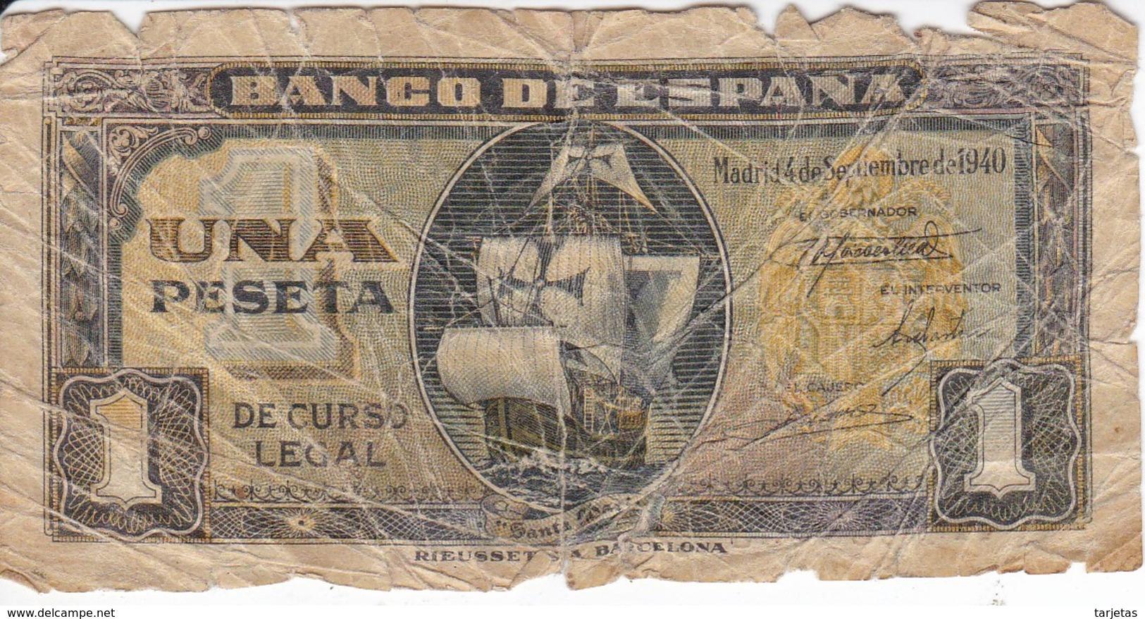 BILLETE DE ESPAÑA DE 1 PTA DEL 4/09/1940 SERIE A CARAVELA  (BANKNOTE) - 1-2 Pesetas