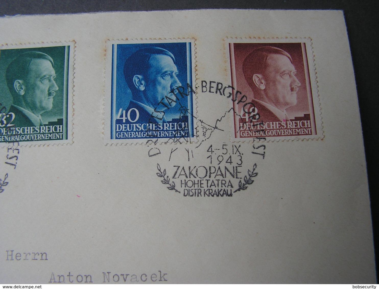 Adolf Mit Zakopane PL  Stempel  Tatra 1943 - Besetzungen 1938-45