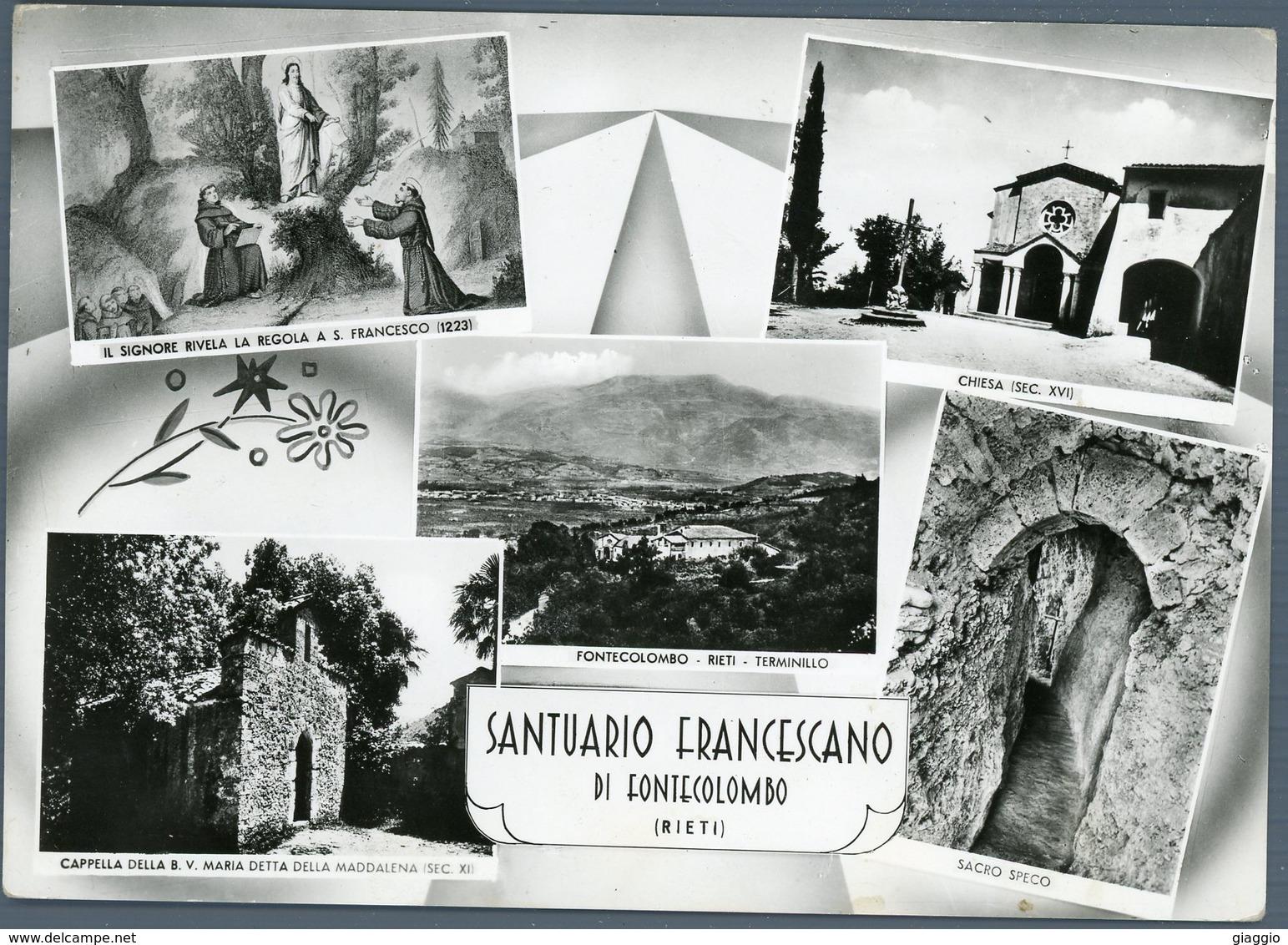 °°° Cartolina N. 58 Santuario Francescano Di Fontecolombo Vedutine Viaggiata °°° - Rieti