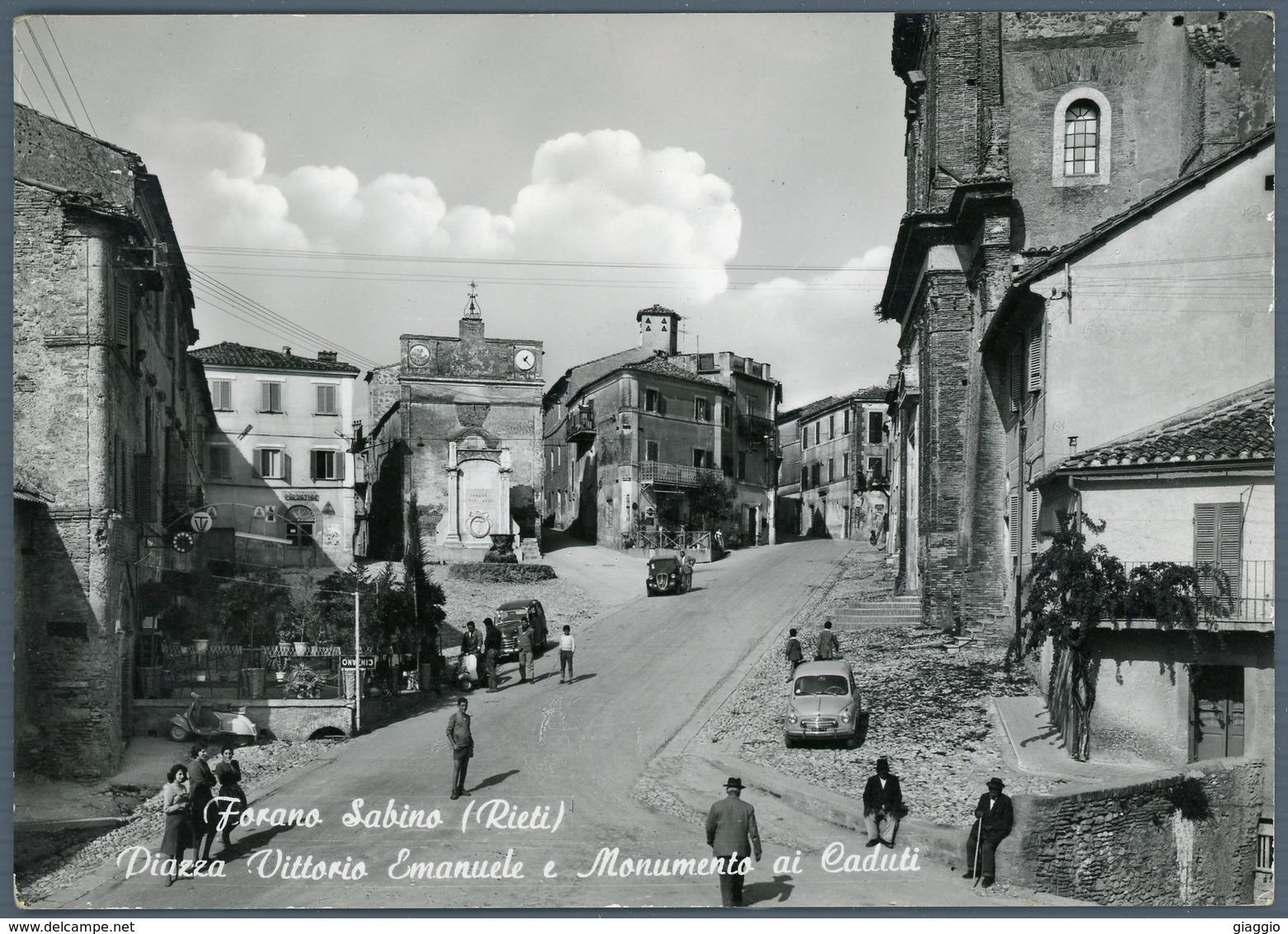 °°° Cartolina N. 64 Forano Sabino Piazza Vittorio Emanuele E Monumento Ai Caduti Viaggiata °°° - Rieti