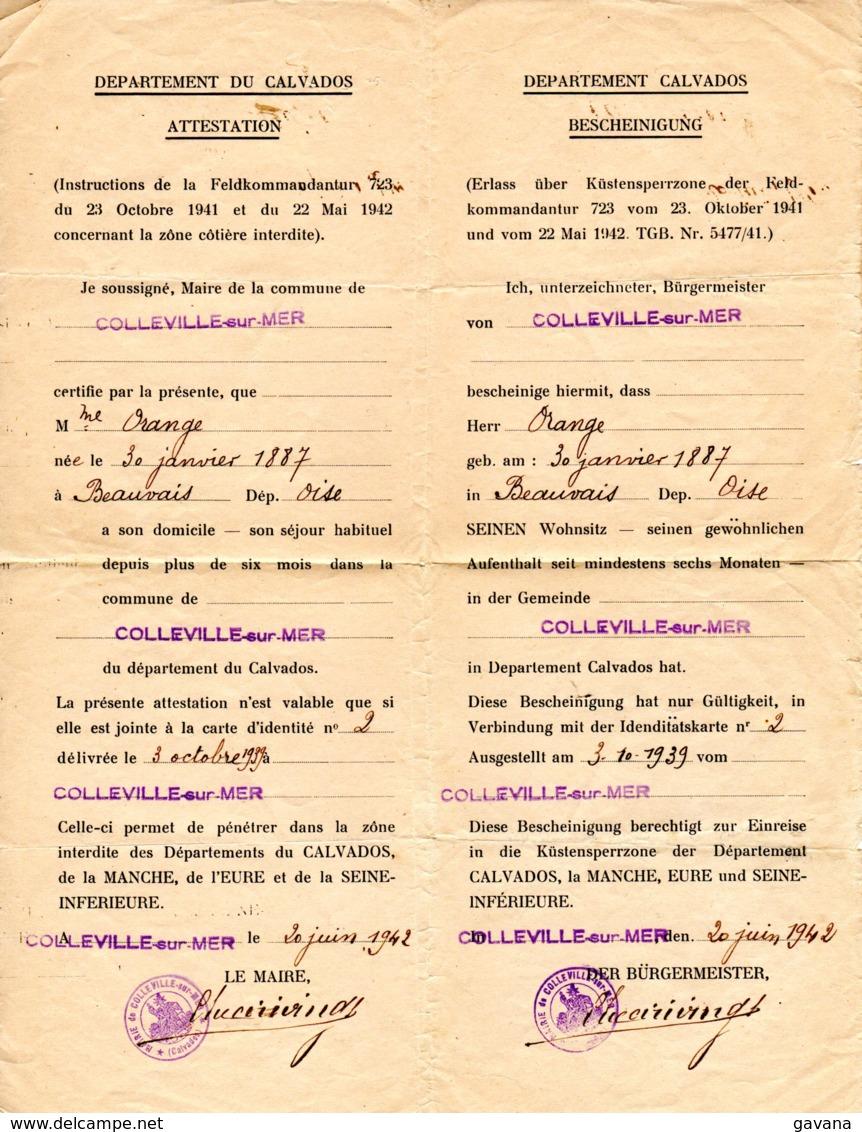 Laissez-passer - Ausweiss - COLLEVILLE-sur-MER - 20 Juin 1942 - Historische Dokumente