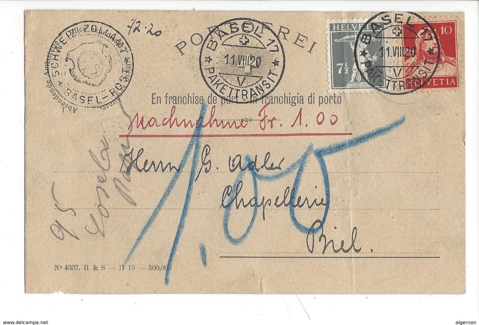 22038 - Basel 17 Nachnahme Zollamt Pour Biel 1920  Carte Porto Frei (attention Pli) - AG Argovie