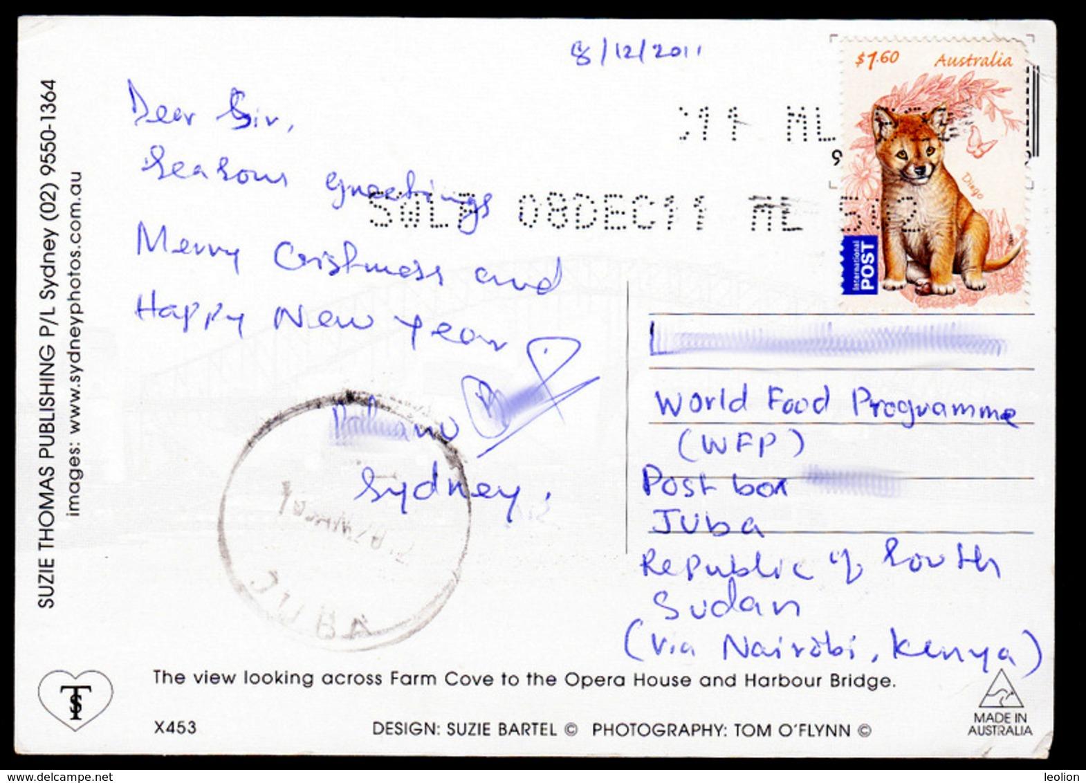 SOUTH SUDAN 2011 Postcard To Juba PO From Australia W/ 2011 Bush Babies Dingo Stamp, Via Kenya - Sydney Opera House - Zuid-Soedan
