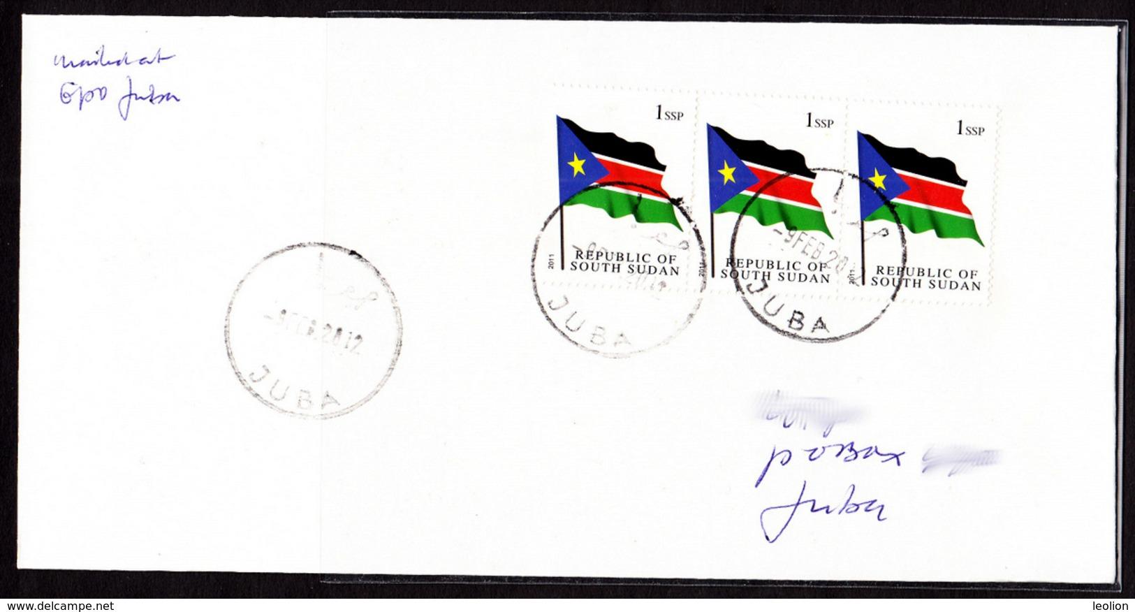 SOUTH SUDAN 2012 Cover With 3x 1 SSP National Flag Südsudan Soudan Du Sud - Zuid-Soedan