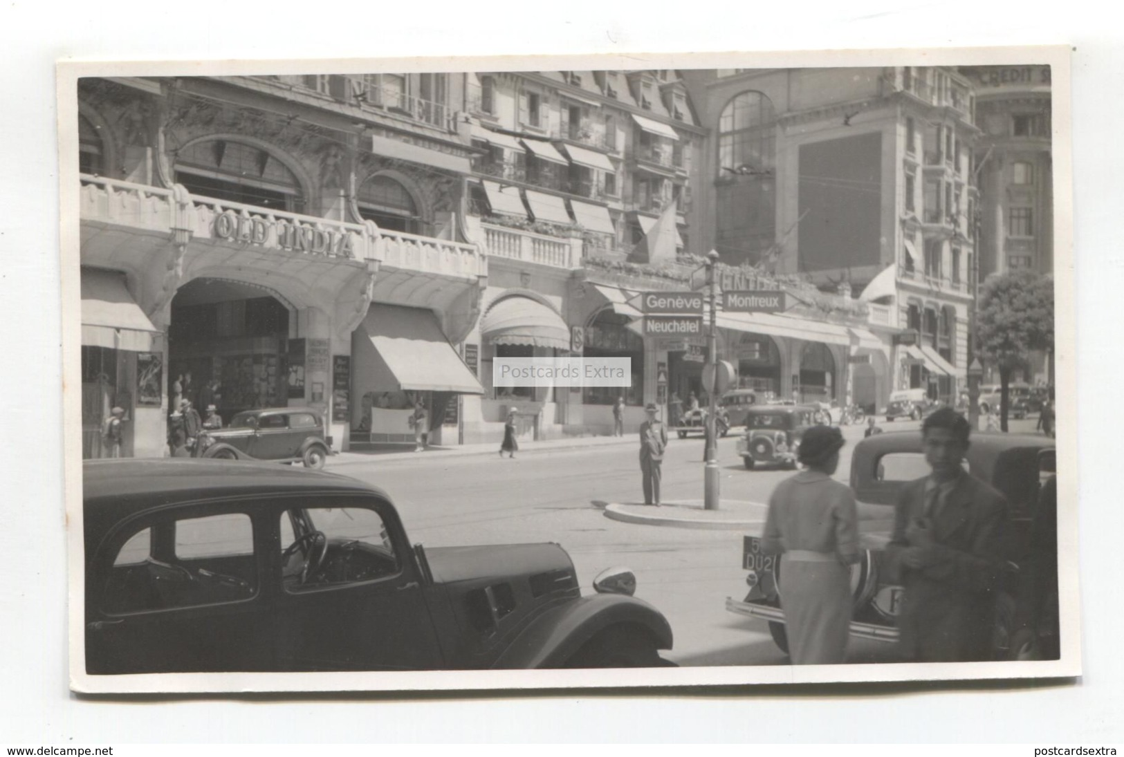 Lausanne, Switzerland - Street Scene, Cars, Old India Tea Room - C1930's Real Photo Postcard - VD Vaud