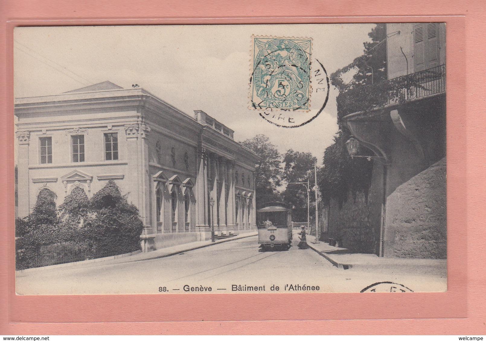 OUDE POSTKAART - ZWITSERLAND - SUISSE - GENEVE - TRAM - BATIMENT DE L'ATHENEE - GE Genève