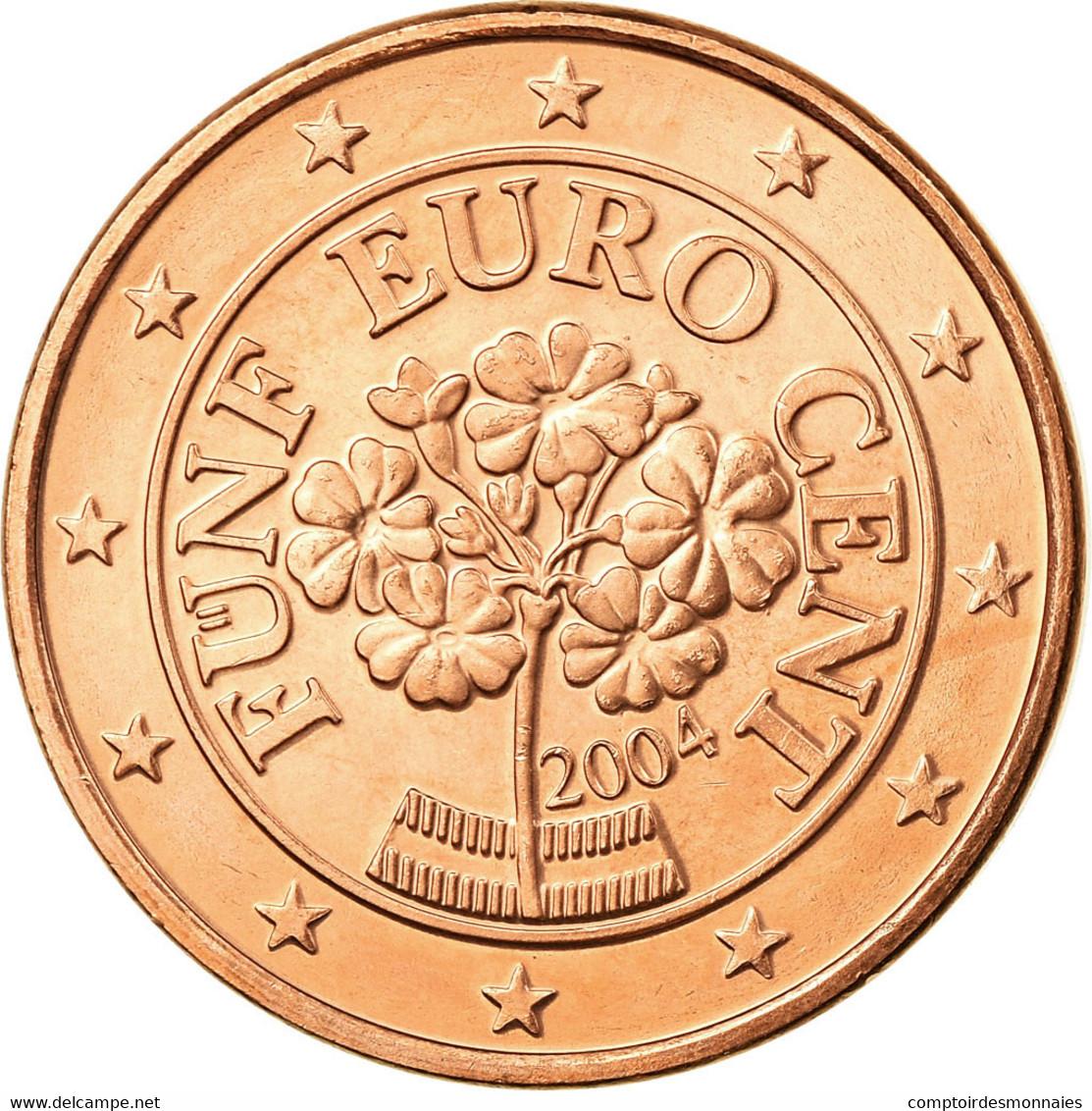 Autriche, 5 Euro Cent, 2004, SUP, Copper Plated Steel, KM:3084 - Autriche
