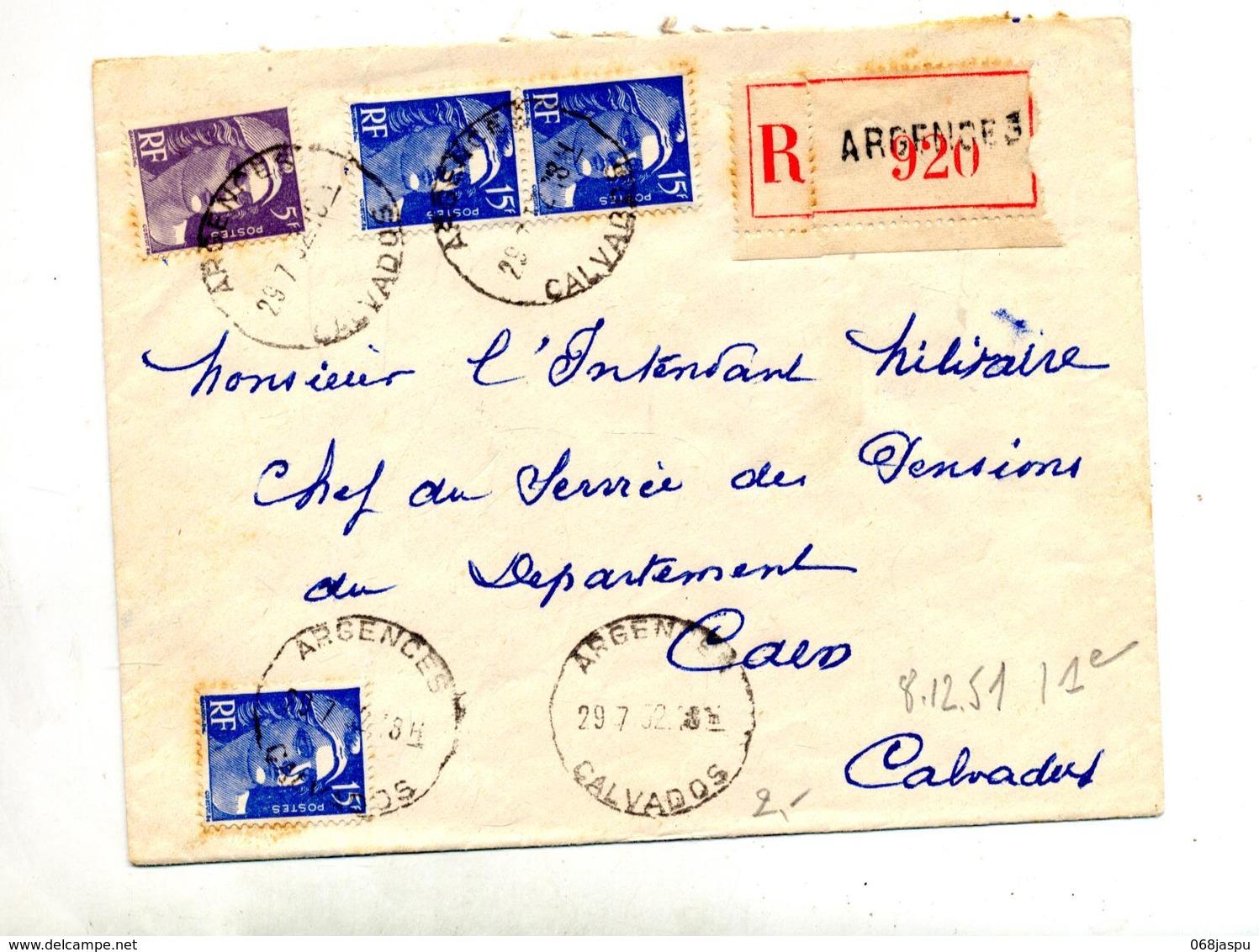Lettre Recommandee Argences Sur Gandon - Postmark Collection (Covers)