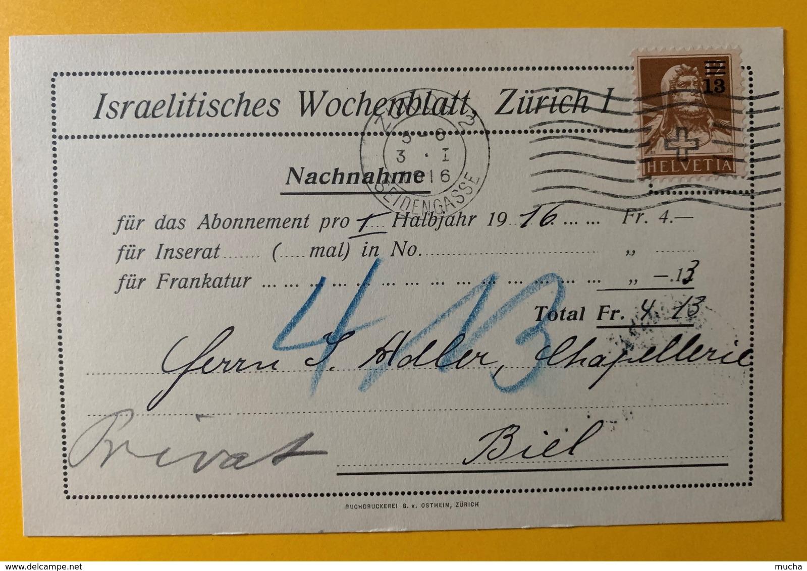 8604 - Israelitisches Wochenblatt Zurich 1 Nachnahme 3.01.1916  Timbre Buste De Tell No 134 Surchagé - ZH Zurich