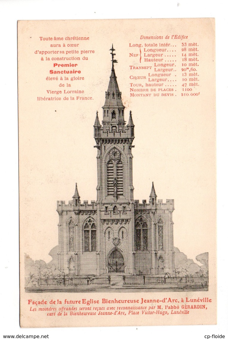 54 - LUNÉVILLE . Façade De La Future Église Bienheureuse Jeanne D'Arc - Réf. N°22129 - - Luneville