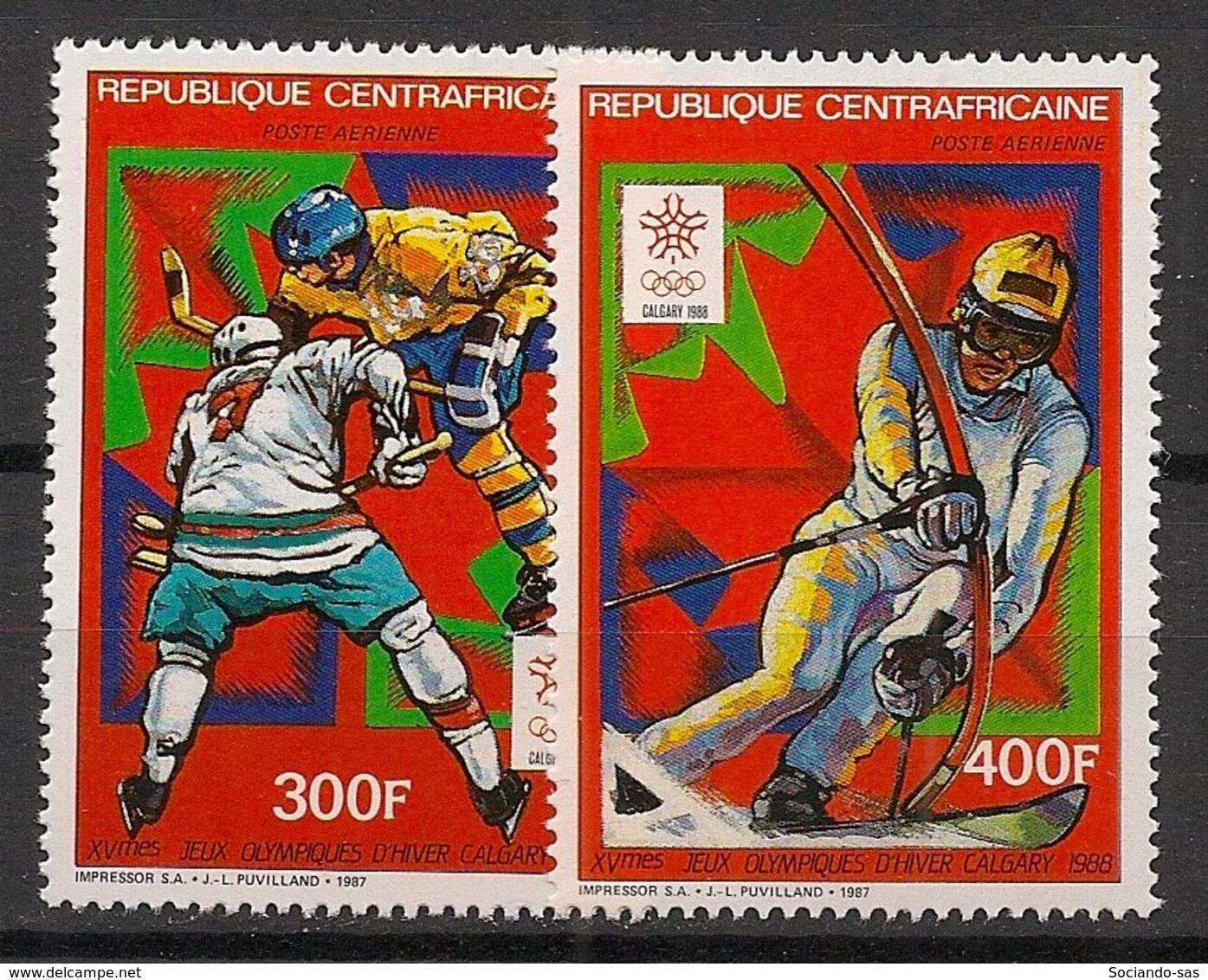 Centrafricaine - 1987 - Poste Aérienne PA N°Yv. 367 à 368 - Olympics Calgary 88 - Neuf Luxe ** / MNH / Postfrisch - Zentralafrik. Republik
