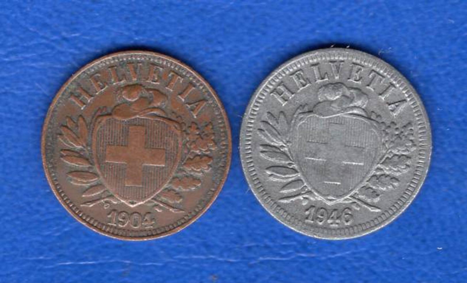 2rappen  1904  + 1946  Zn - Suisse